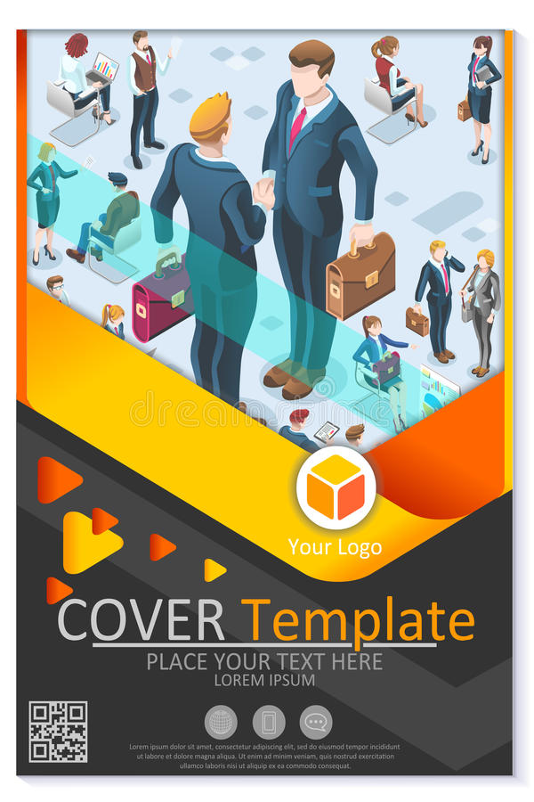 Newsletter Customizable Vector Template Corporate Magazine. Financial newsletter annual report or proposal vector clean blue template plain modern design for stock illustration