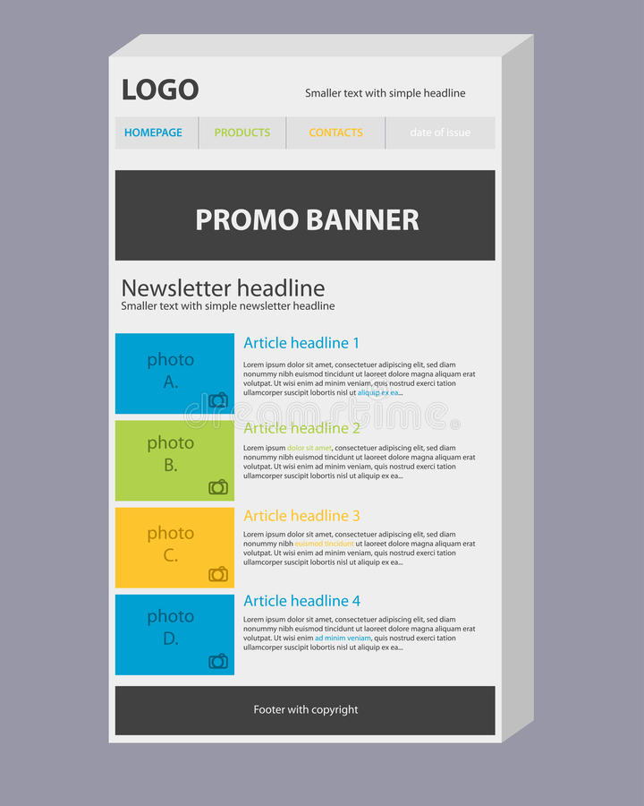Newsletter 3D Template With Colors Royalty Free Stock Photography