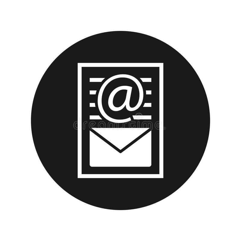 Newsletter document page icon flat black round button vector illustration. Newsletter document page icon vector illustration design isolated on flat black round royalty free illustration