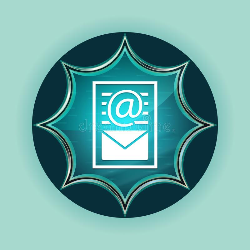Newsletter document page icon magical glassy sunburst blue button sky blue background stock images