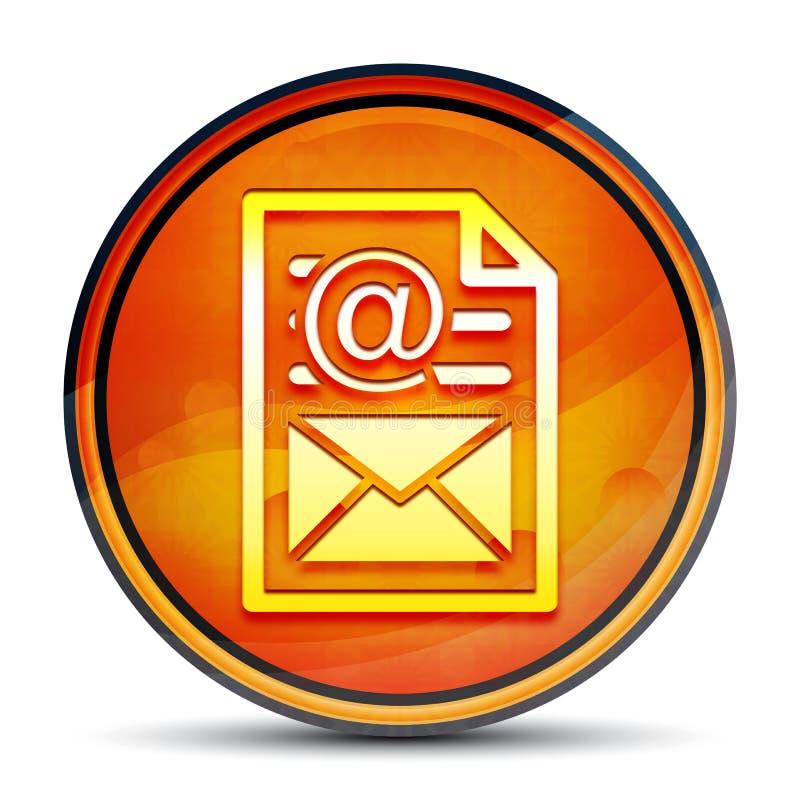 Newsletter document page icon shiny bright orange round button illustration stock illustration