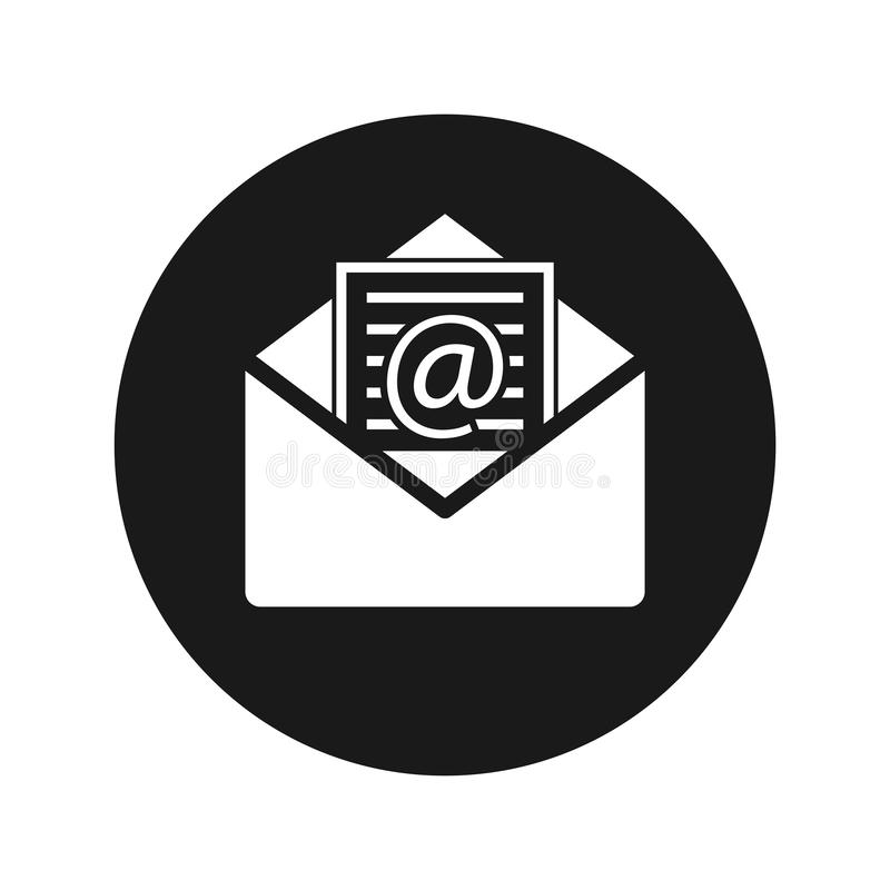 Newsletter email icon flat black round button vector illustration. Newsletter email icon vector illustration design isolated on flat black round button stock illustration
