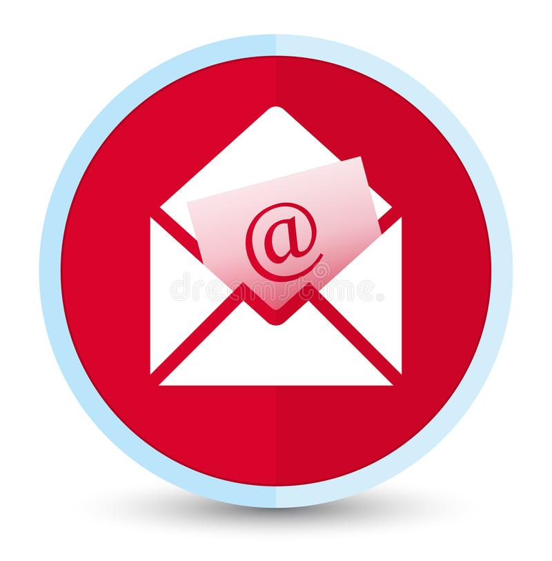 Newsletter email icon flat prime red round button. Newsletter email icon isolated on flat prime red round button abstract illustration stock illustration