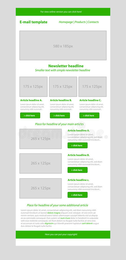 Newsletter green template with business style. Newsletter layout green template with business style royalty free illustration