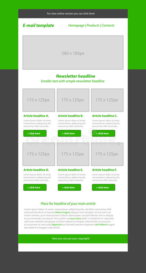 Newsletter green template with business style. Newsletter layout green template with business style stock illustration