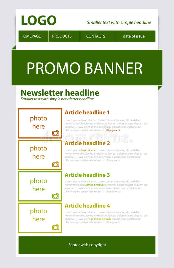 Newsletter green template with spring colors. Newsletter green template with green spring colors vector illustration