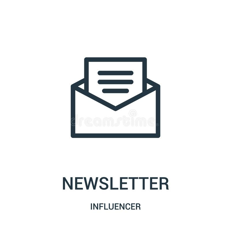 newsletter icon vector from influencer collection. Thin line newsletter outline icon vector illustration royalty free illustration