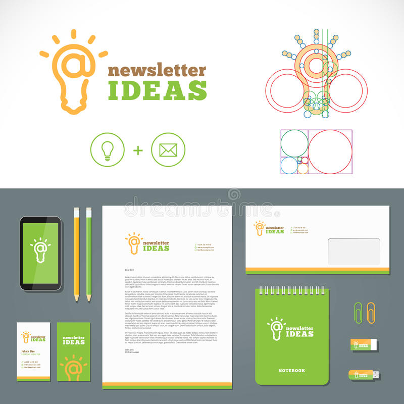 Newsletter Ideas Logo and Identity Template stock illustration