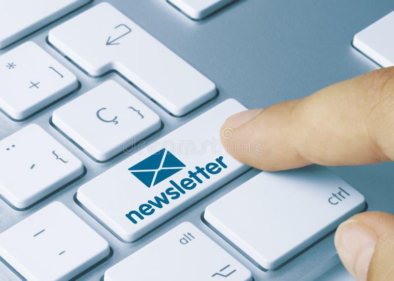 Newsletter - Inscription on White Keyboard Key stock photos