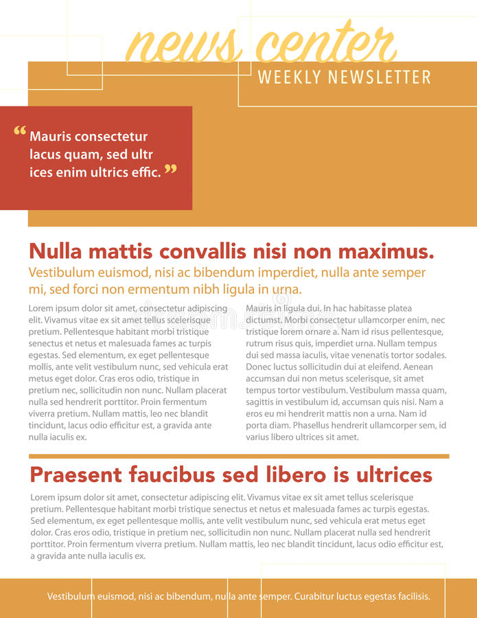 Newsletter. News center newsletter weekly layout template stock illustration