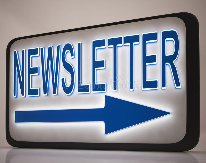 Newsletter Sign Showing News Mails stock illustration