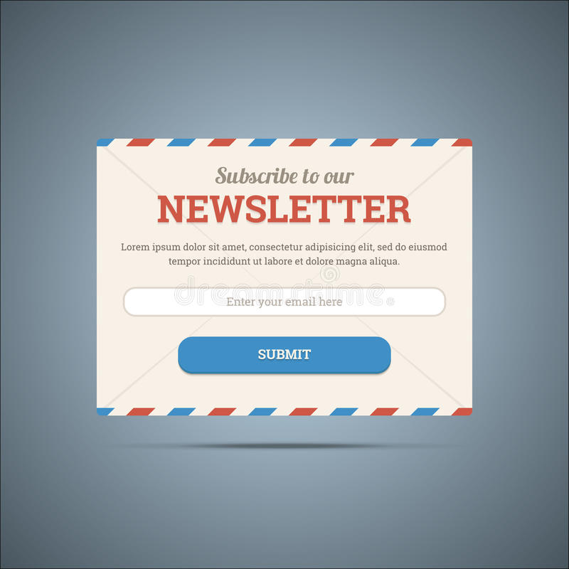 Download Newsletter Subscribe Form For Web And Mobile. Stock Vector - Image: 40911244