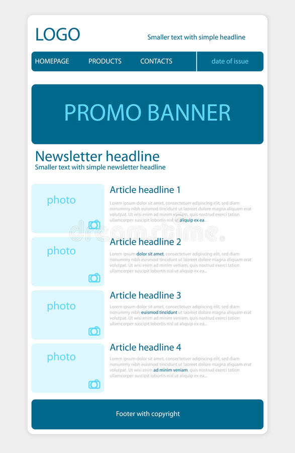 Newsletter template with business style. Newsletter blue template with business style stock illustration