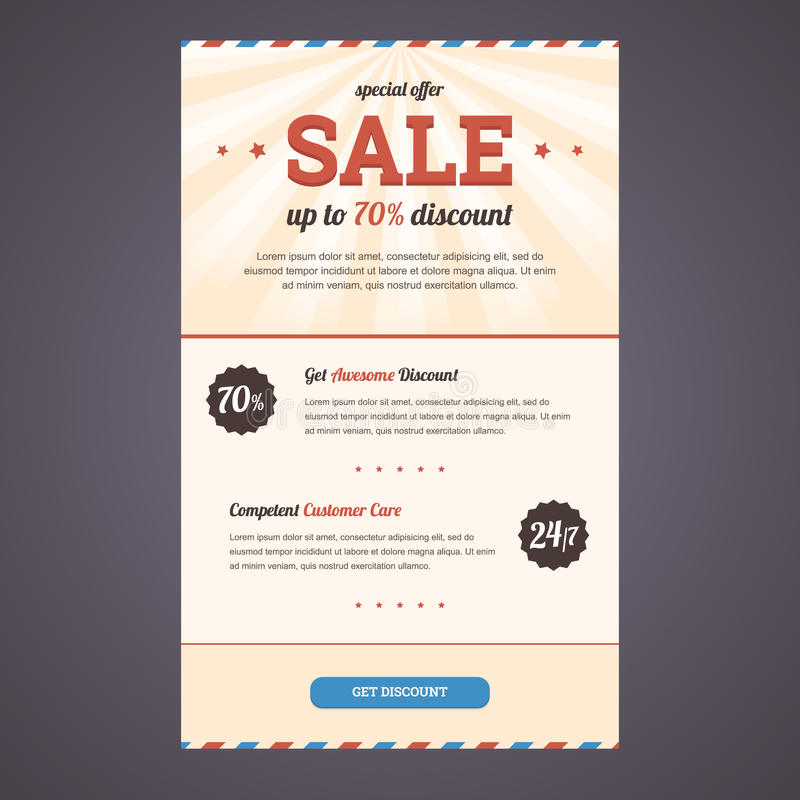 Newsletter Template Design With Discount Offer. Stock Vector