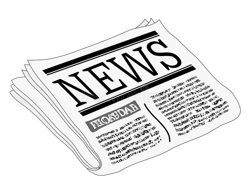 Newspaper. An illustration of a newspaper, isolated on a white background