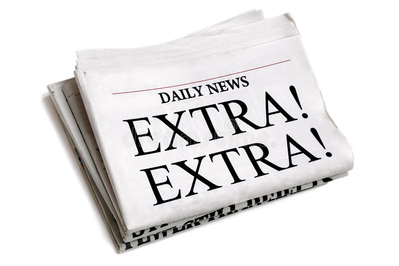 Daily newspaper. Newspaper headline Extra Extra isolated on white background royalty free stock photo