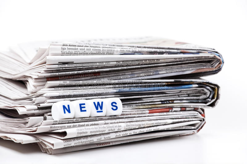 Newspaper. Stack of newspaper on white background stock images