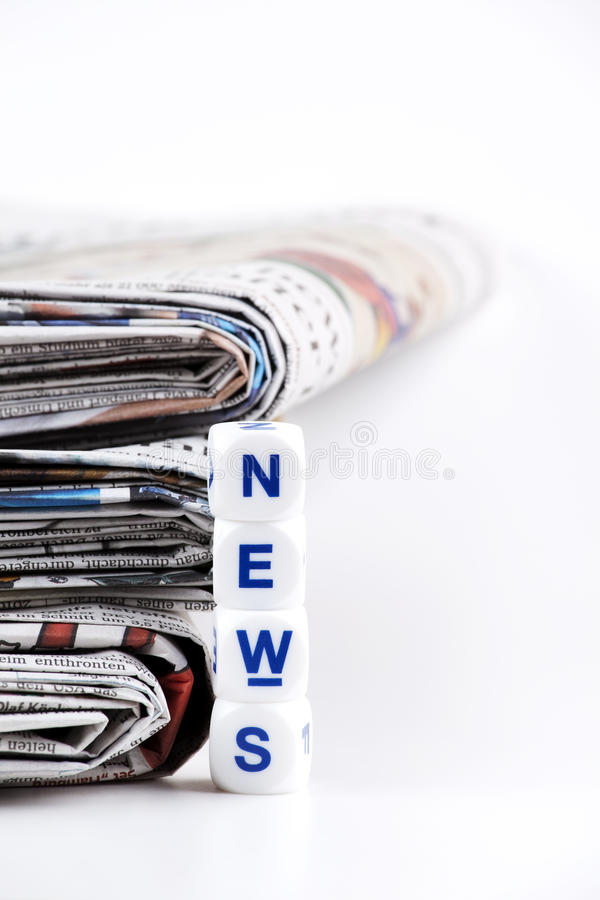 Newspaper. Stack of newspaper on white background stock image