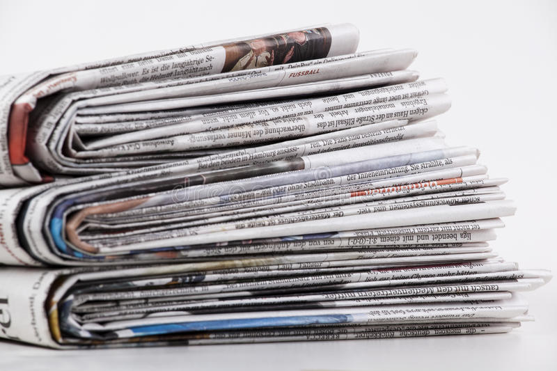 Newspaper. Stack of newspaper on white background royalty free stock images