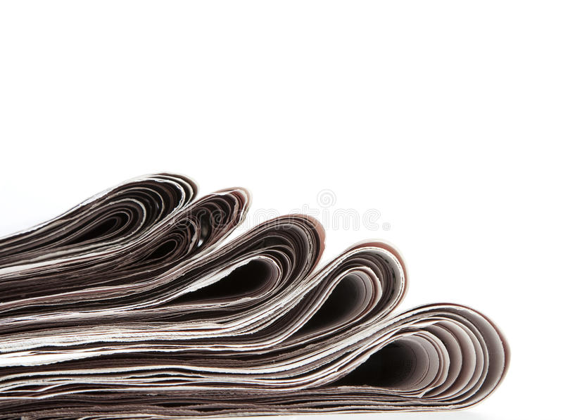 Newspaper. Stack of newspaper on white background royalty free stock photos