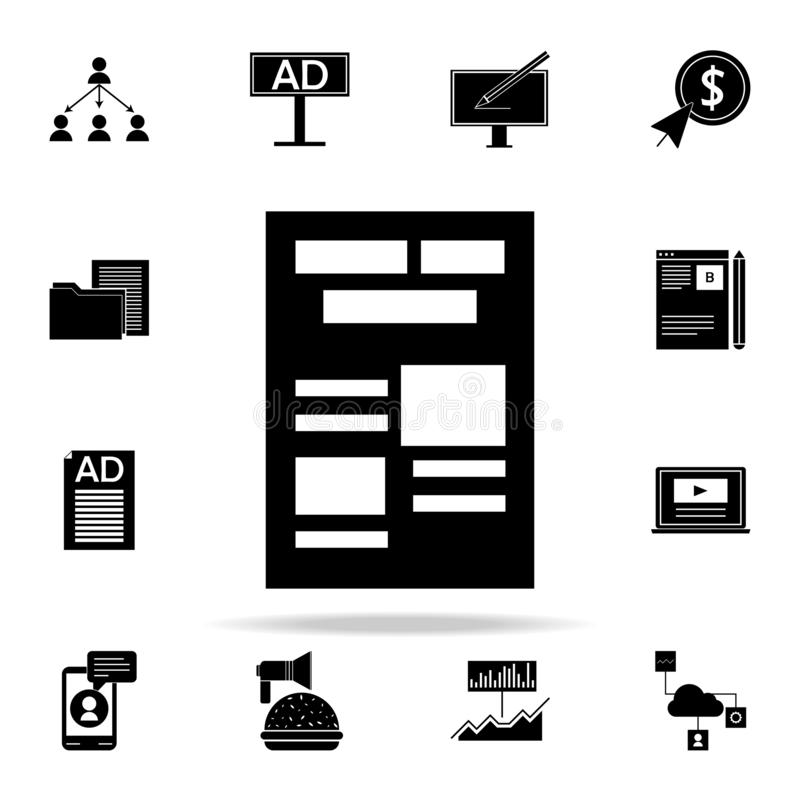 newspaper ads icon. Digital Marketing icons universal set for web and mobile royalty free illustration