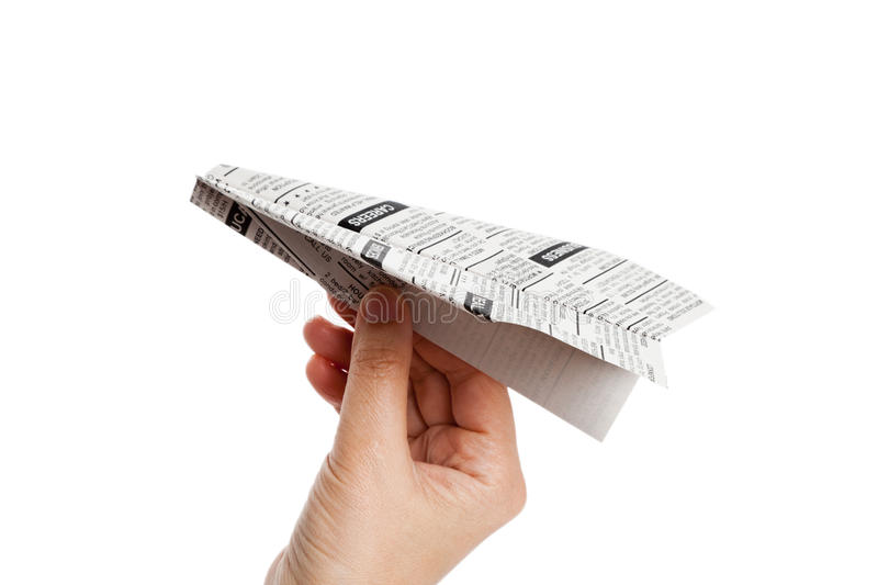 Newspaper Airplane. Fake newspaper, Newspaper Airplane, Classified Ad, business concept stock photography