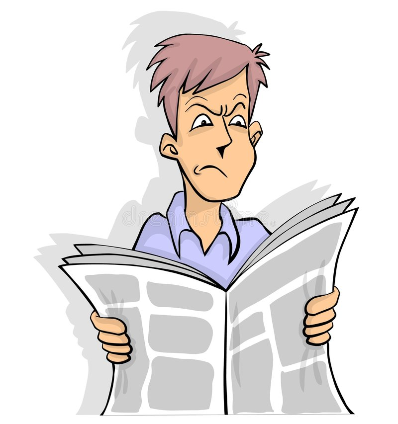 Newspaper bad news. Man is reading a bad news in newspaper in color vector illustration