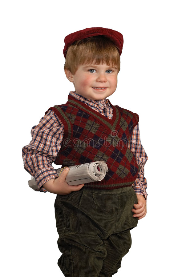 Newspaper Boy. Boy wearing an old-fashioned outfit with rolled newspaper, isolated with clipping path