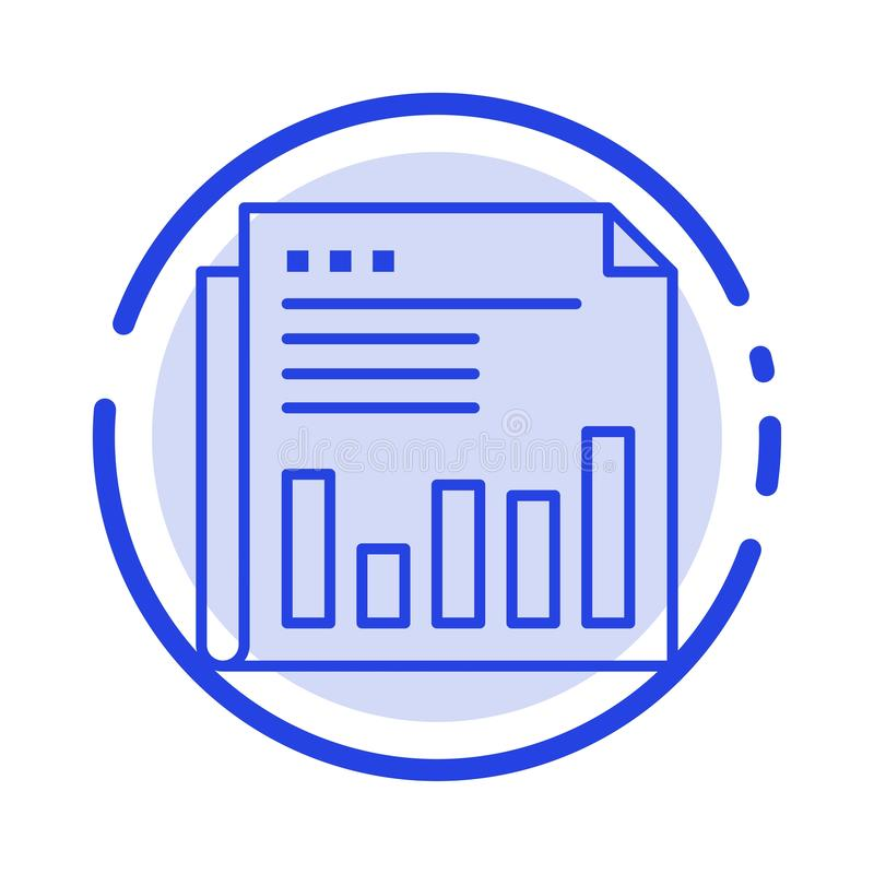 Newspaper, Business, Financial, Market, News, Paper, Times Blue Dotted Line Line Icon stock illustration