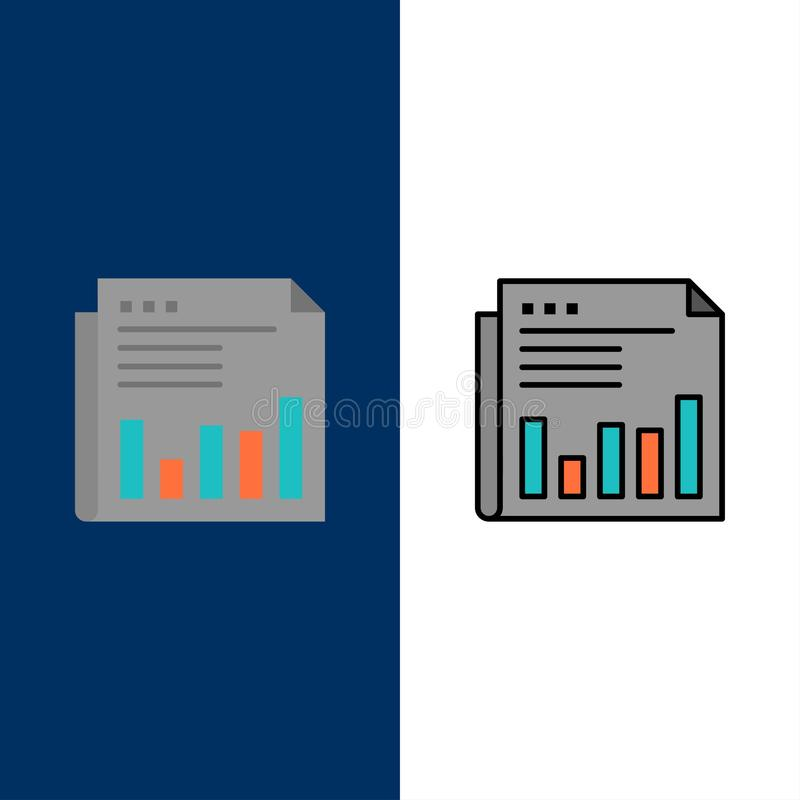 Newspaper, Business, Financial, Market, News, Paper, Times  Icons. Flat and Line Filled Icon Set Vector Blue Background royalty free illustration