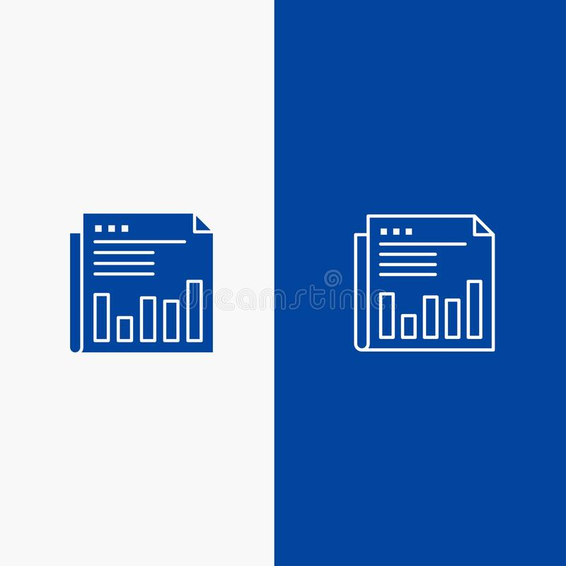 Newspaper, Business, Financial, Market, News, Paper, Times Line and Glyph Solid icon Blue banner Line and Glyph Solid icon Blue. Banner royalty free illustration