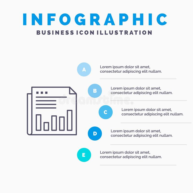 Newspaper, Business, Financial, Market, News, Paper, Times Line icon with 5 steps presentation infographics Background stock illustration