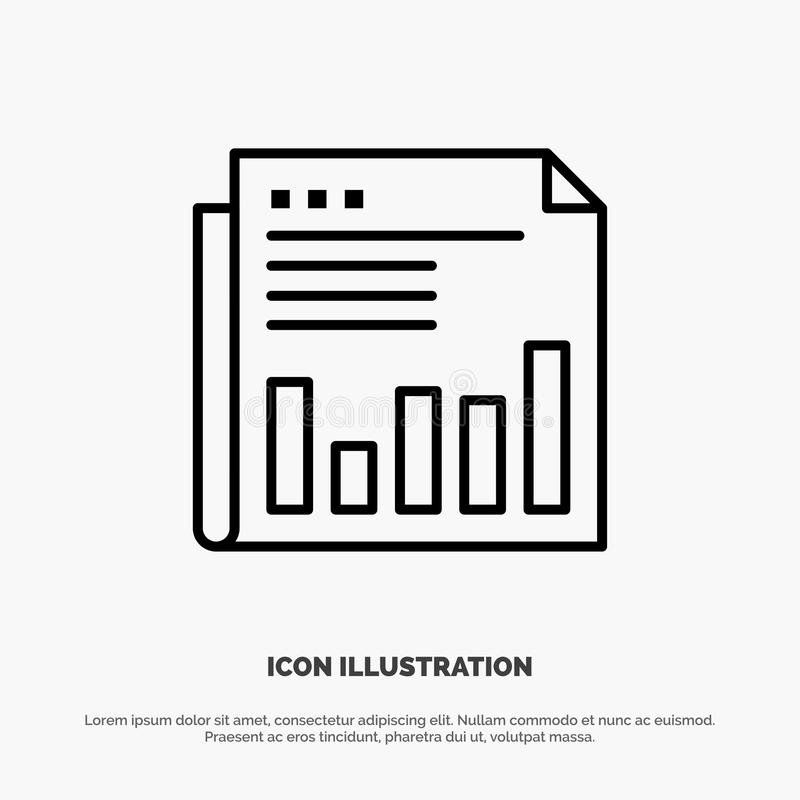 Newspaper, Business, Financial, Market, News, Paper, Times Line Icon Vector vector illustration