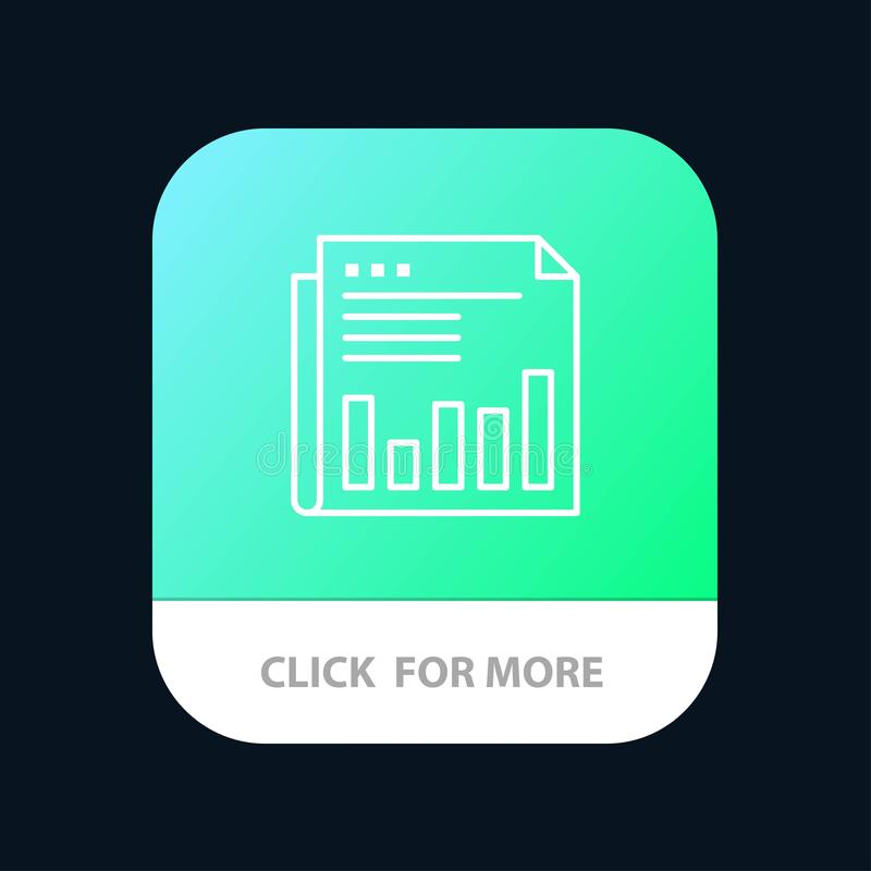 Newspaper, Business, Financial, Market, News, Paper, Times Mobile App Button. Android and IOS Line Version vector illustration