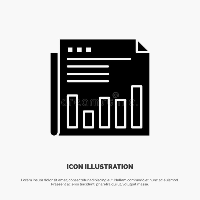 Newspaper, Business, Financial, Market, News, Paper, Times solid Glyph Icon vector royalty free illustration