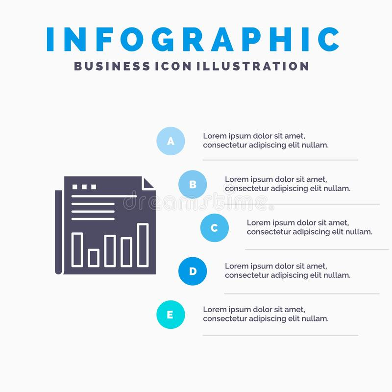 Newspaper, Business, Financial, Market, News, Paper, Times Solid Icon Infographics 5 Steps Presentation Background royalty free illustration