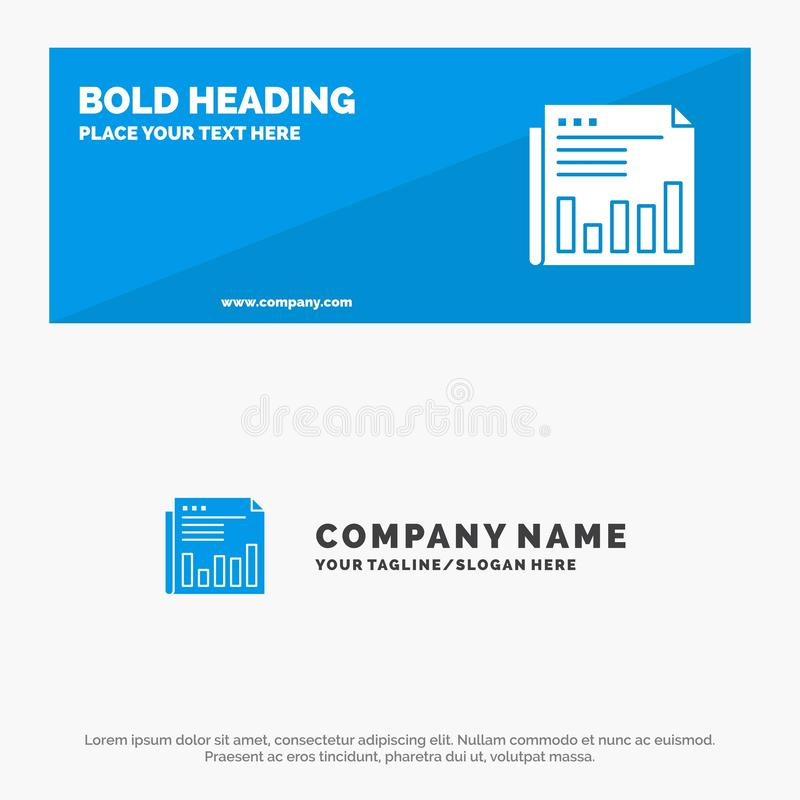 Newspaper, Business, Financial, Market, News, Paper, Times SOlid Icon Website Banner and Business Logo Template royalty free illustration