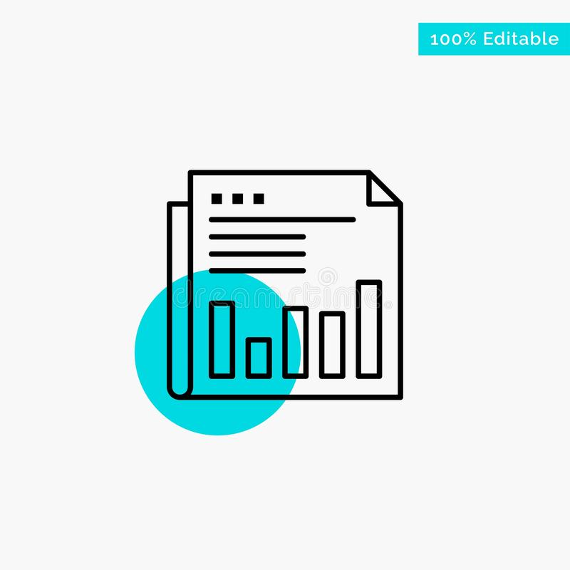 Newspaper, Business, Financial, Market, News, Paper, Times turquoise highlight circle point Vector icon vector illustration