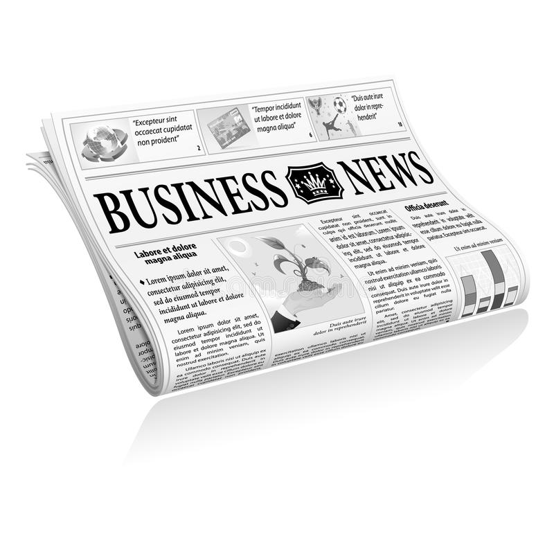 Newspaper Business News. Folded Newspaper Business News with Articles and Graph, on white background, vector vector illustration
