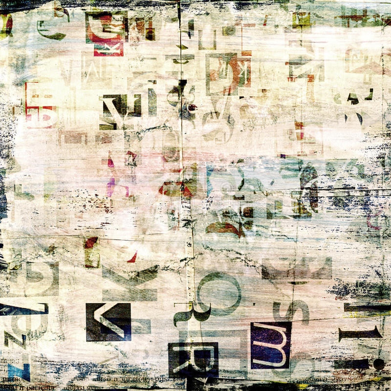 Newspaper collage grunge background stock images