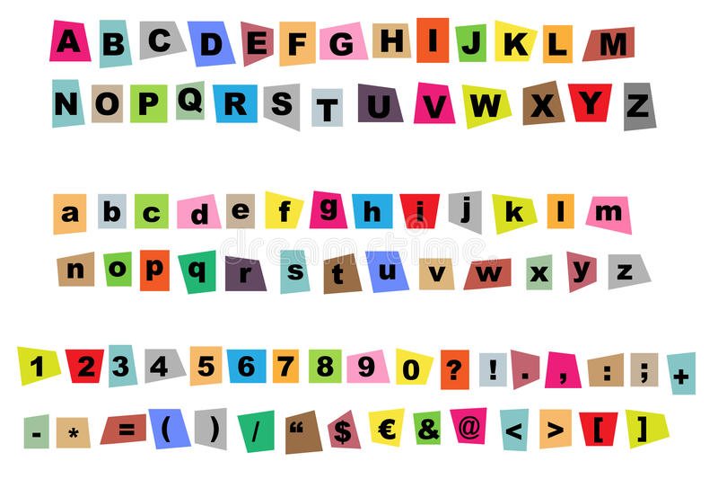 Newspaper cutout alphabet stock illustration