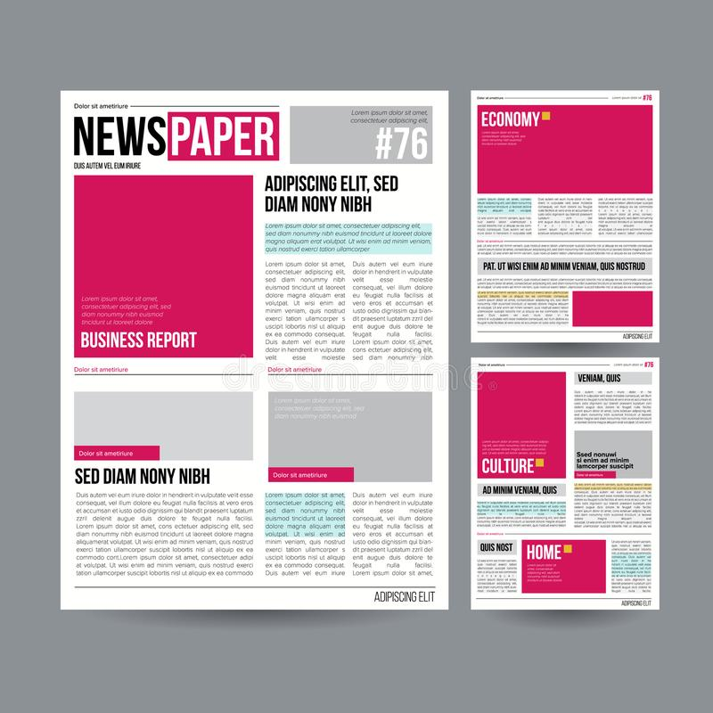 Tabloid Newspaper Design Template Vector Images Articles Business