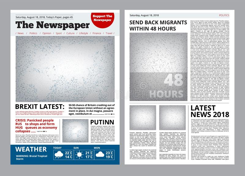 Newspaper design. Headline journal template with place for your text and images layout vector brochure. Newspaper page with headline illustration royalty free illustration