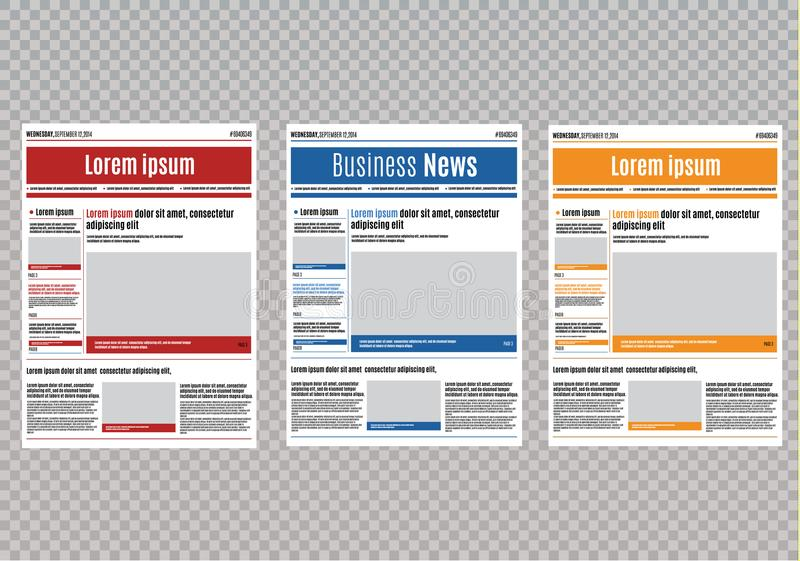 Newspaper design template with red headline, images and charts, articles and financial information, advertising vector.  royalty free illustration