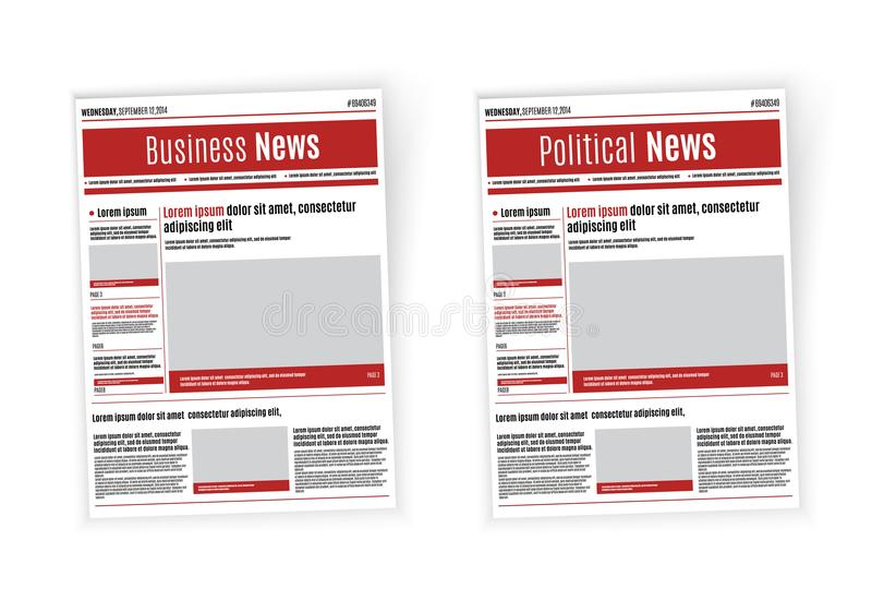 Newspaper design template with red headline, images and charts, articles and financial information, advertising vector.  vector illustration