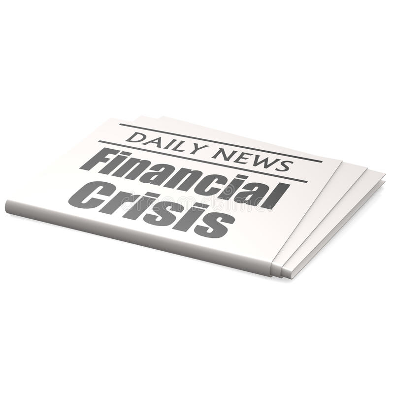 Newspaper financial crisis. Image with hi-res rendered artwork that could be used for any graphic design stock illustration