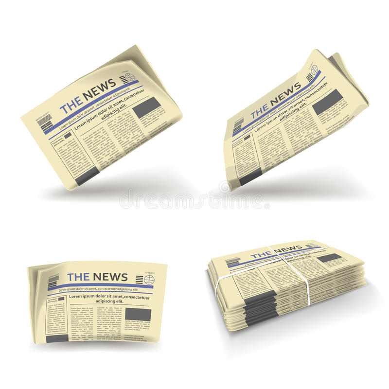 Newspaper folded, open and stack vector isolated icons royalty free illustration