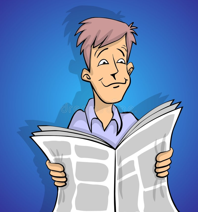 Newspaper god news. Man is reading a good news in newspaper in color stock illustration
