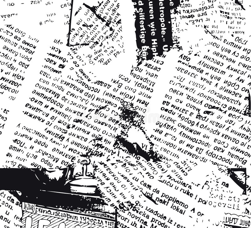 Newspaper grunge b&w vector illustration