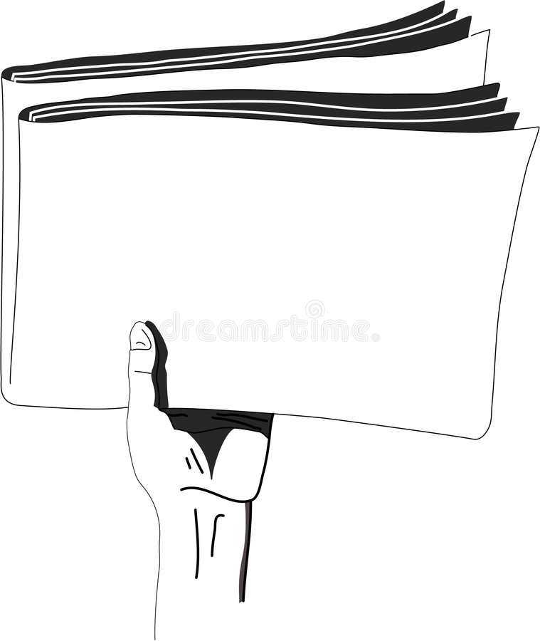 The newspaper in a hand. The hand which holds the newspaper, mass media stock illustration